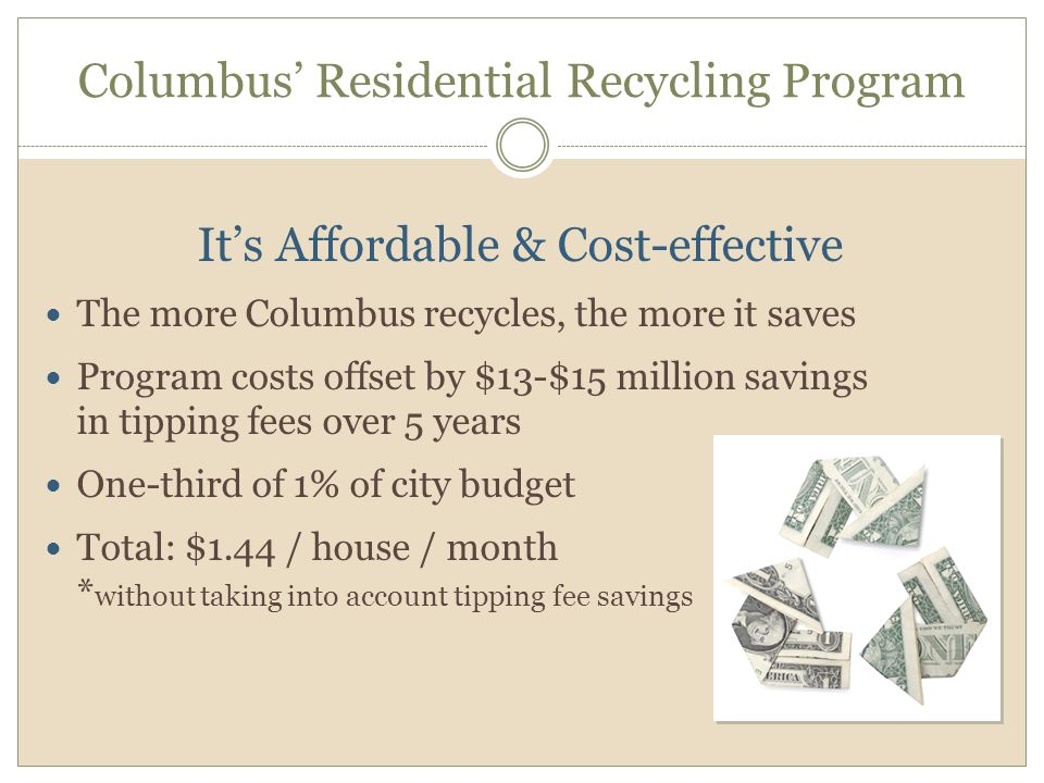 Columbus' Residential Recycling Program It's Affordable & Cost-effective The more Columbus recycles, the more it saves Program costs offset by $13-$15 million savings in tipping fees over 5 years One-third of 1% of city budget Total: $1.44 / house / month * without taking into account tipping fee savings
