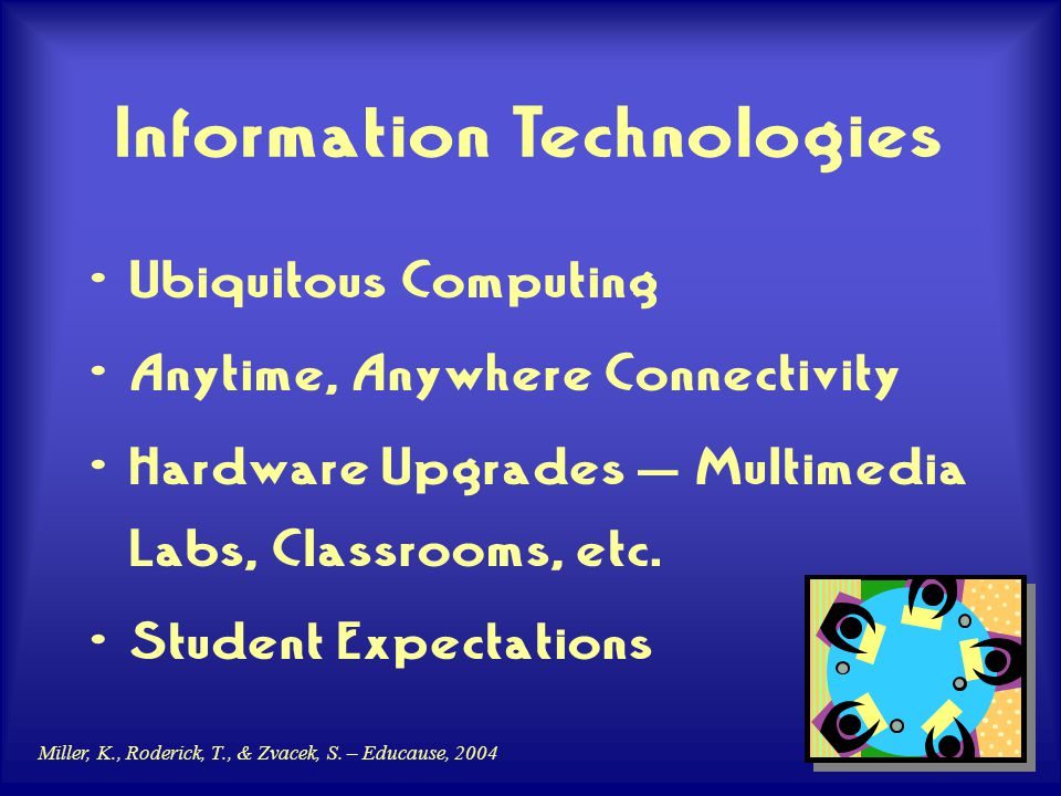 Miller, K., Roderick, T., & Zvacek, S. – Educause, 2004 Information Technologies Ubiquitous Computing Anytime, Anywhere Connectivity Hardware Upgrades