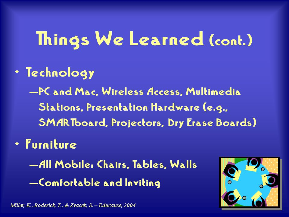 Miller, K., Roderick, T., & Zvacek, S. – Educause, 2004 Things We Learned (cont.) Technology – PC and Mac, Wireless Access, Multimedia Stations, Prese