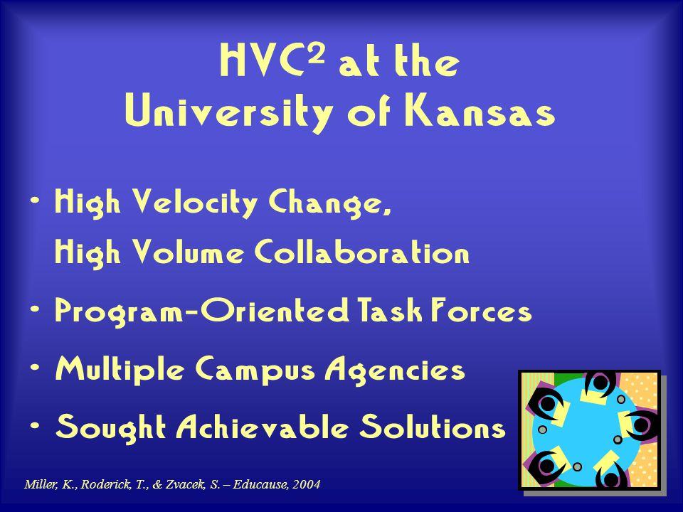 Miller, K., Roderick, T., & Zvacek, S. – Educause, 2004 HVC 2 at the University of Kansas High Velocity Change, High Volume Collaboration Program-Orie