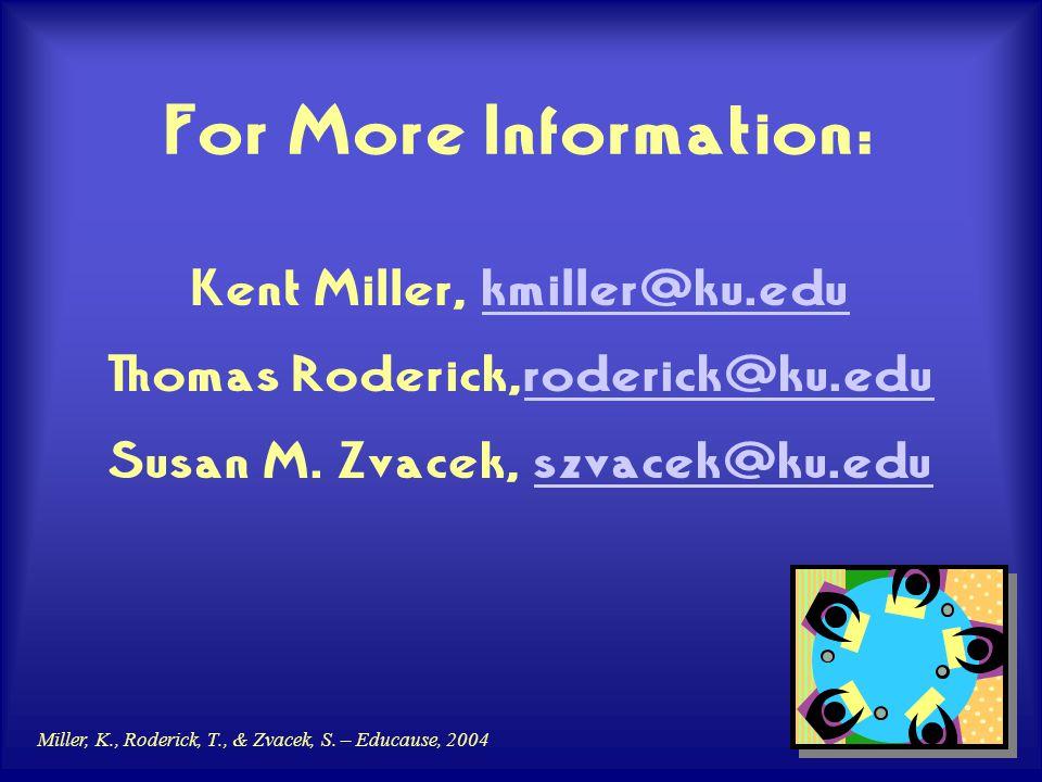 Miller, K., Roderick, T., & Zvacek, S. – Educause, 2004 For More Information: Kent Miller, kmiller@ku.edukmiller@ku.edu Thomas Roderick,roderick@ku.ed
