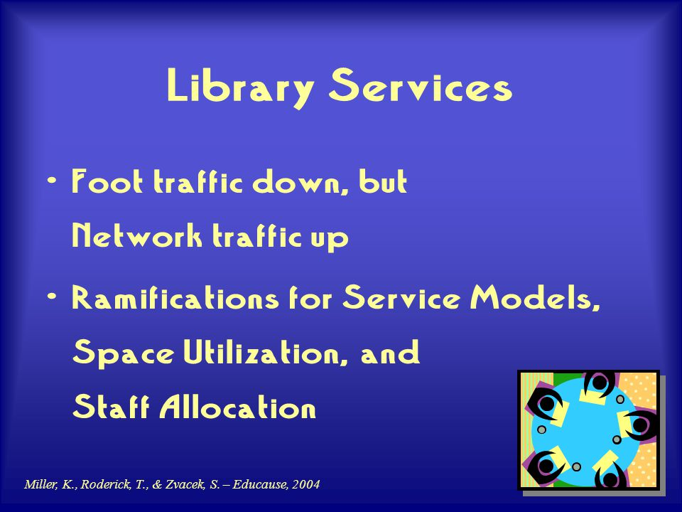 Miller, K., Roderick, T., & Zvacek, S. – Educause, 2004 Library Services Foot traffic down, but Network traffic up Ramifications for Service Models, S