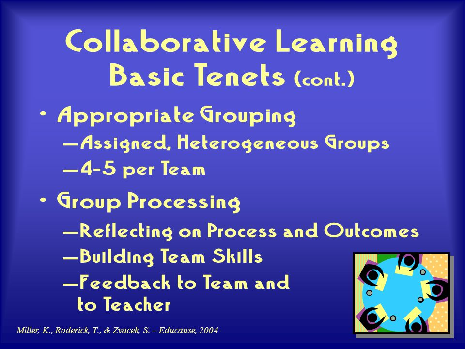 Miller, K., Roderick, T., & Zvacek, S. – Educause, 2004 Collaborative Learning Basic Tenets (cont.) Appropriate Grouping – Assigned, Heterogeneous Gro