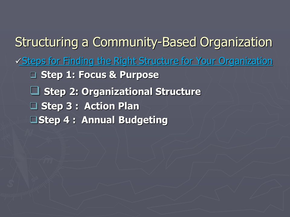 Structuring a Community-Based Organization Steps for Finding the Right Structure for Your Organization Steps for Finding the Right Structure for Your Organization  Step 1: Focus & Purpose  Step 2: Organizational Structure  Step 3 : Action Plan  Step 4 : Annual Budgeting
