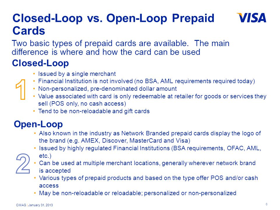 6 CWAG | January 31, 2013 Closed-Loop vs. Open-Loop Prepaid Cards Two basic types of prepaid cards are available. The main difference is where and how
