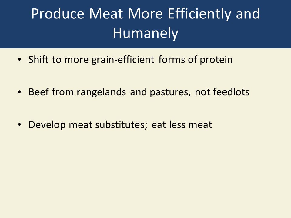 Produce Meat More Efficiently and Humanely Shift to more grain-efficient forms of protein Beef from rangelands and pastures, not feedlots Develop meat