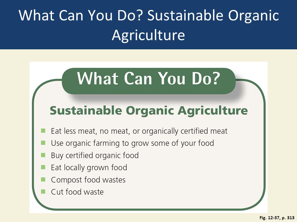 What Can You Do? Sustainable Organic Agriculture Fig. 12-37, p. 313