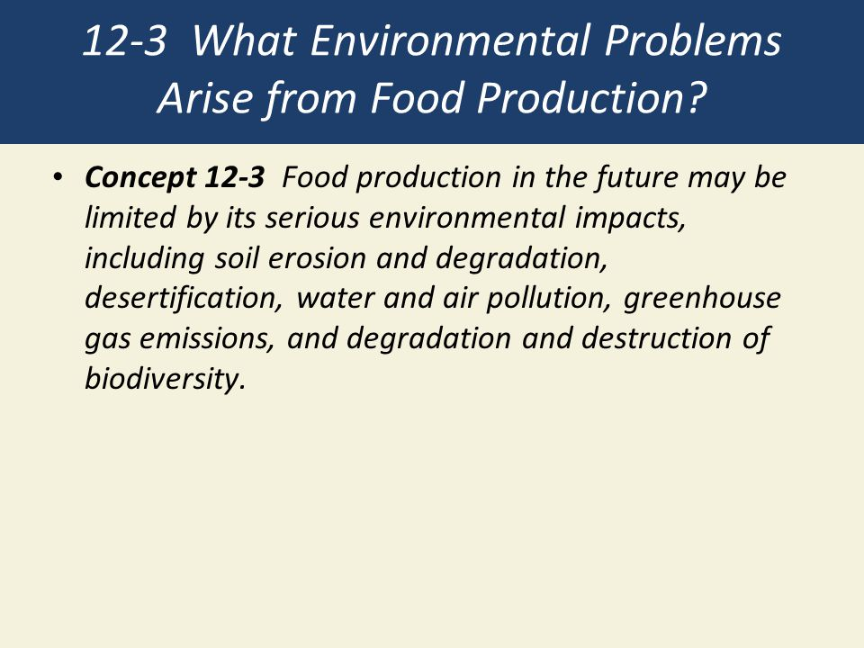 12-3 What Environmental Problems Arise from Food Production? Concept 12-3 Food production in the future may be limited by its serious environmental im