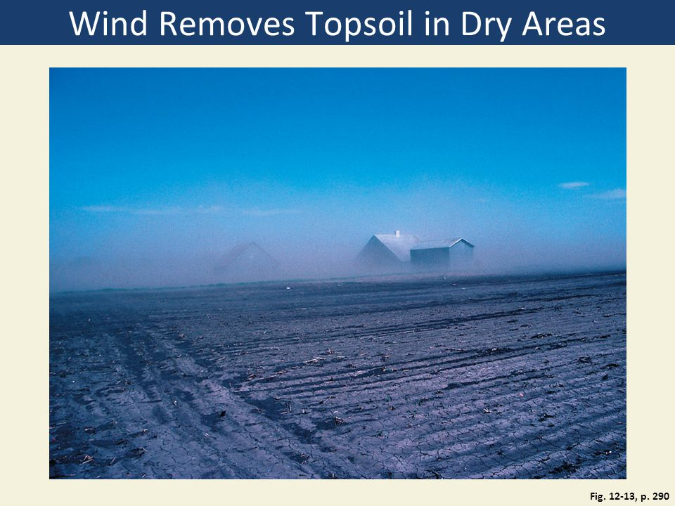 Wind Removes Topsoil in Dry Areas Fig. 12-13, p. 290