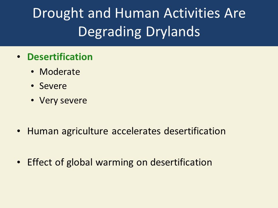 Drought and Human Activities Are Degrading Drylands Desertification Moderate Severe Very severe Human agriculture accelerates desertification Effect o