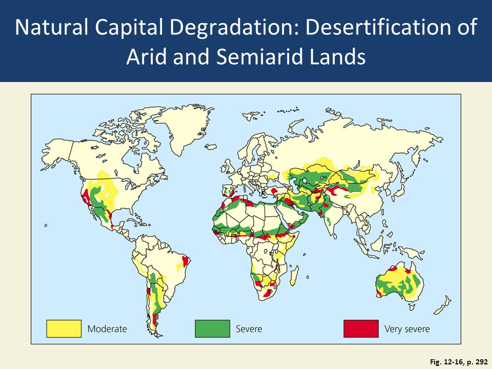 Natural Capital Degradation: Desertification of Arid and Semiarid Lands Fig. 12-16, p. 292
