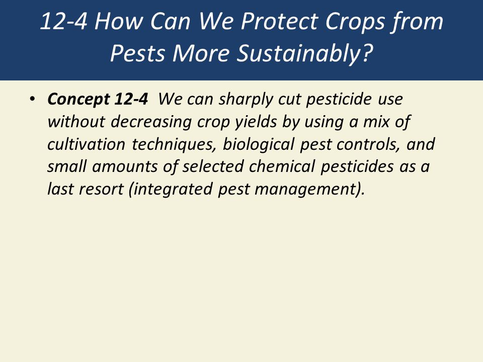 12-4 How Can We Protect Crops from Pests More Sustainably? Concept 12-4 We can sharply cut pesticide use without decreasing crop yields by using a mix