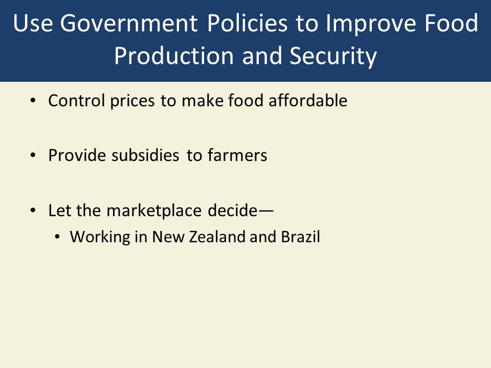 Use Government Policies to Improve Food Production and Security Control prices to make food affordable Provide subsidies to farmers Let the marketplac
