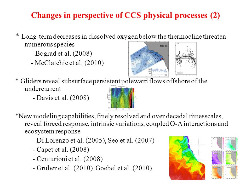 Changes in perspective of CCS physical processes (2) * Long-term decreases in dissolved oxygen below the thermocline threaten numerous species - Bograd et al.