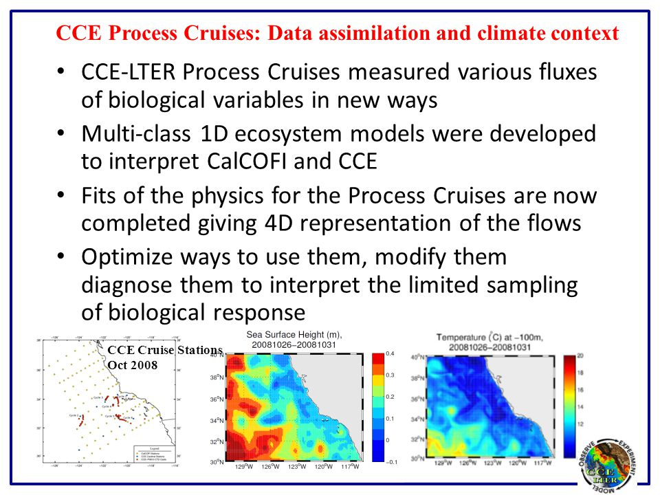 CCE Process Cruises: Data assimilation and climate context CCE-LTER Process Cruises measured various fluxes of biological variables in new ways Multi-class 1D ecosystem models were developed to interpret CalCOFI and CCE Fits of the physics for the Process Cruises are now completed giving 4D representation of the flows Optimize ways to use them, modify them diagnose them to interpret the limited sampling of biological response CCE Cruise Stations Oct 2008