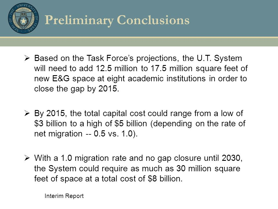 Interim Report Preliminary Conclusions  Based on the Task Force's projections, the U.T. System will need to add 12.5 million to 17.5 million square f