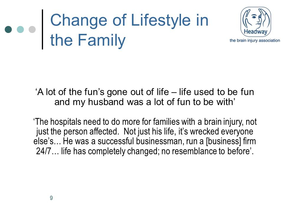 9 Change of Lifestyle in the Family 'A lot of the fun's gone out of life – life used to be fun and my husband was a lot of fun to be with' 'The hospit