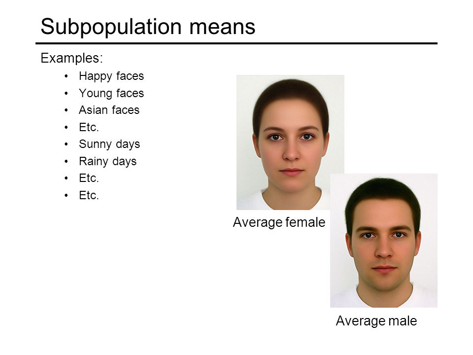 Subpopulation means Examples: Happy faces Young faces Asian faces Etc.