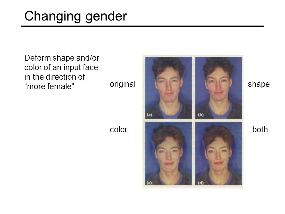 """Changing gender Deform shape and/or color of an input face in the direction of """"more female"""" original shape colorboth"""