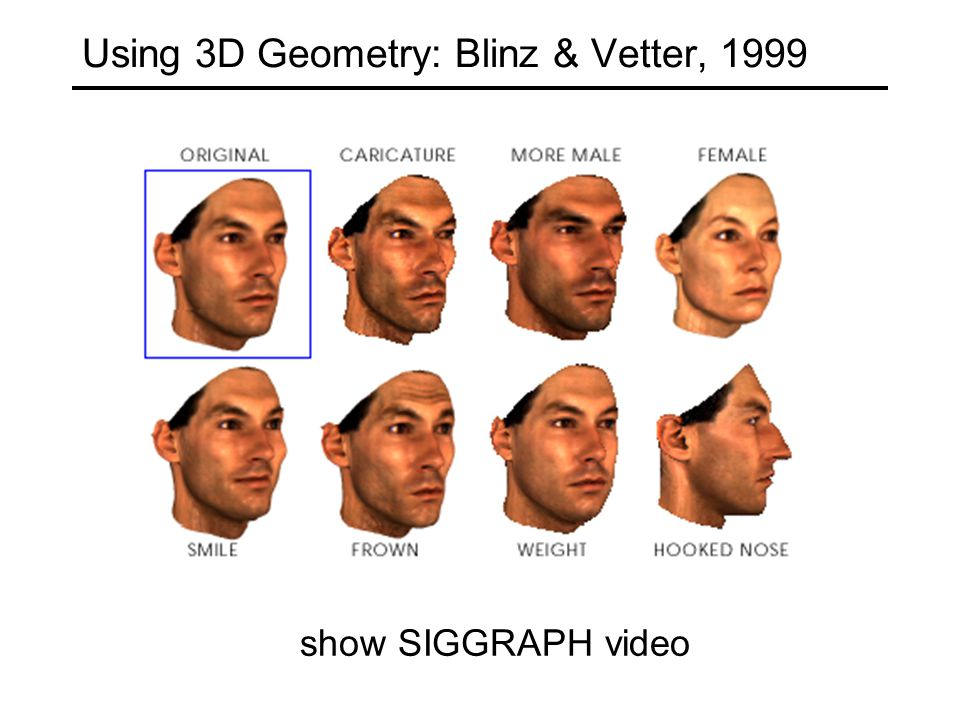 Using 3D Geometry: Blinz & Vetter, 1999 show SIGGRAPH video