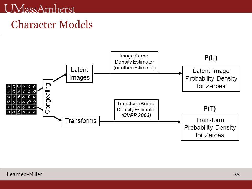 35 Learned-Miller Character Models Latent Images Transforms Image Kernel Density Estimator (or other estimator) Transform Kernel Density Estimator (CV