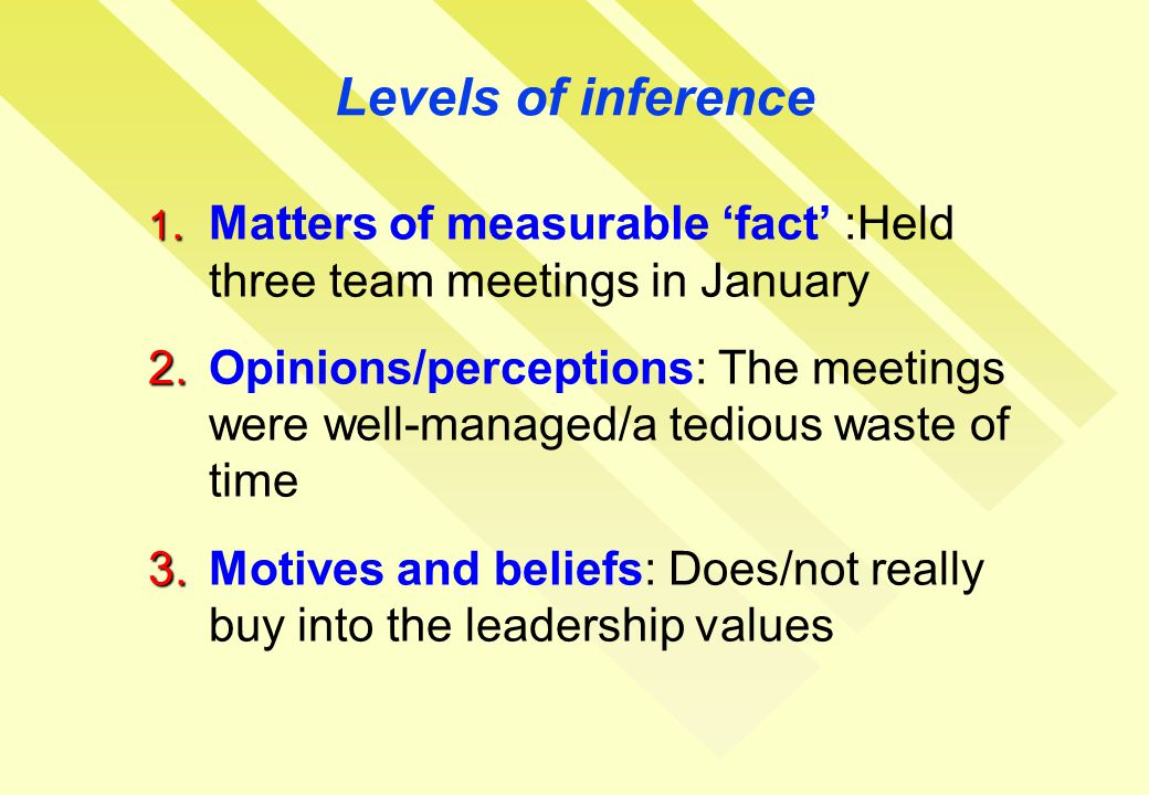 Levels of inference 1. 1.Matters of measurable 'fact' :Held three team meetings in January 2.