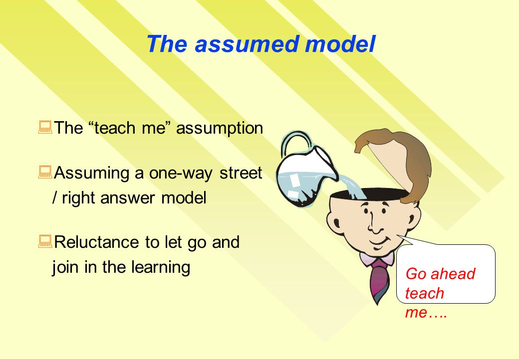The assumed model Go ahead teach me….