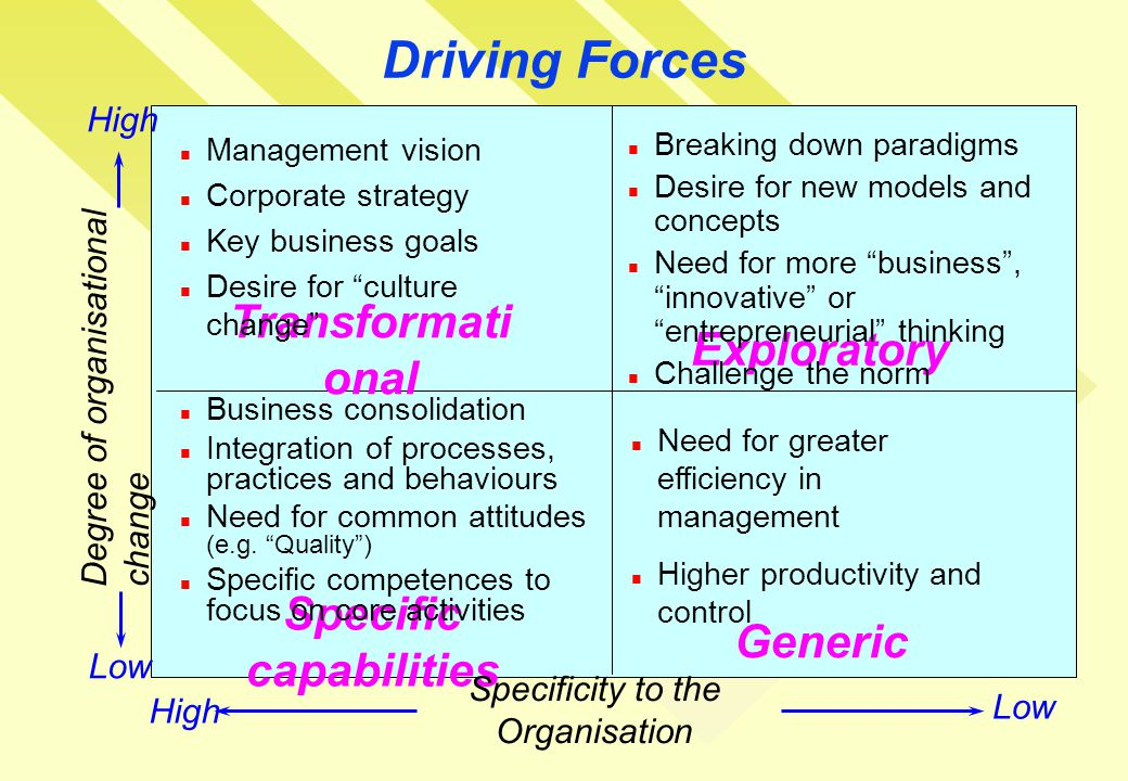Transformati onal Exploratory Specific capabilities Generic Driving Forces Degree of organisational change Specificity to the Organisation Low High Management vision Corporate strategy Key business goals Desire for culture change Breaking down paradigms Desire for new models and concepts Need for more business , innovative or entrepreneurial thinking Challenge the norm Business consolidation Integration of processes, practices and behaviours Need for common attitudes (e.g.