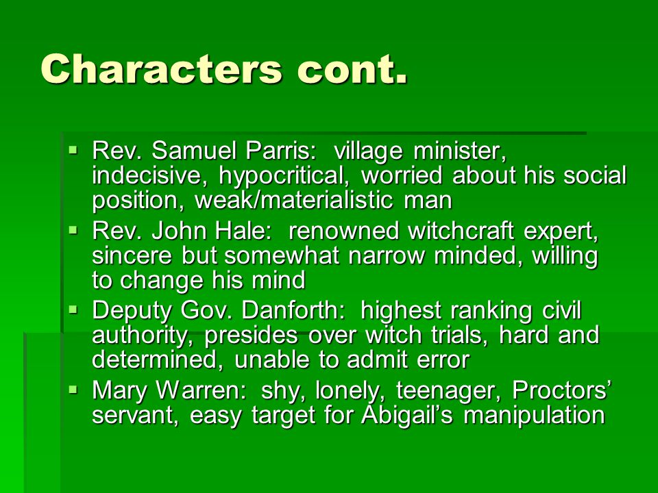 Characters cont.  Rev.