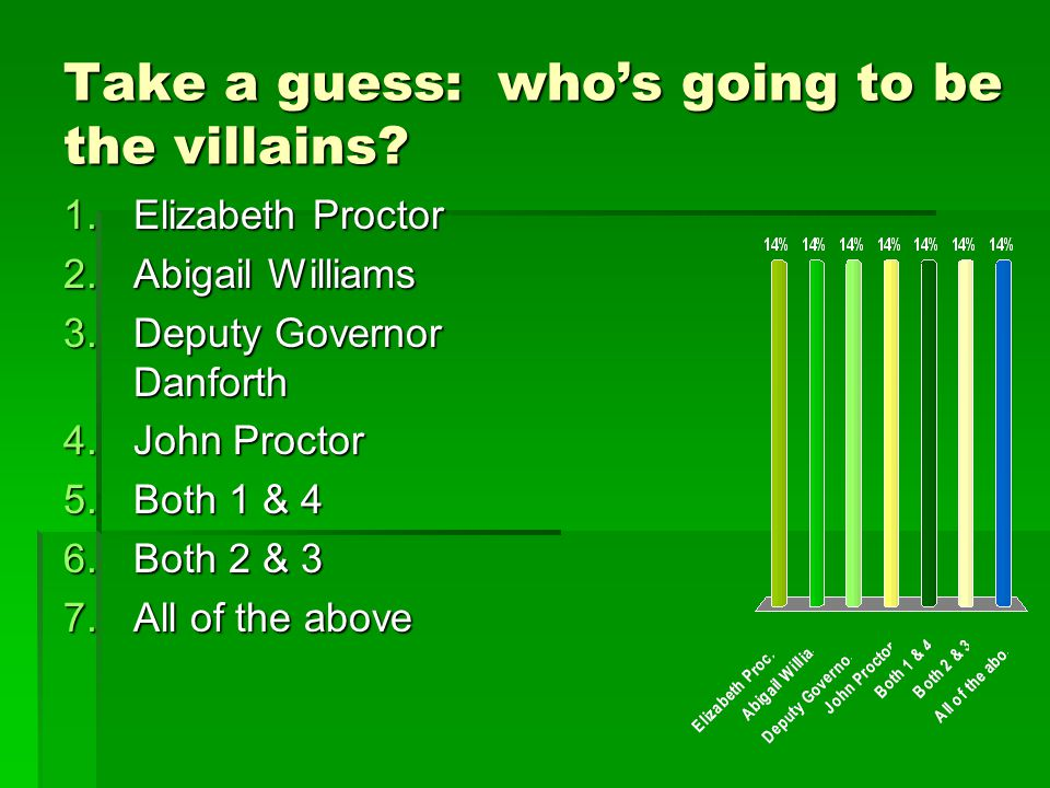 Take a guess: who's going to be the villains.
