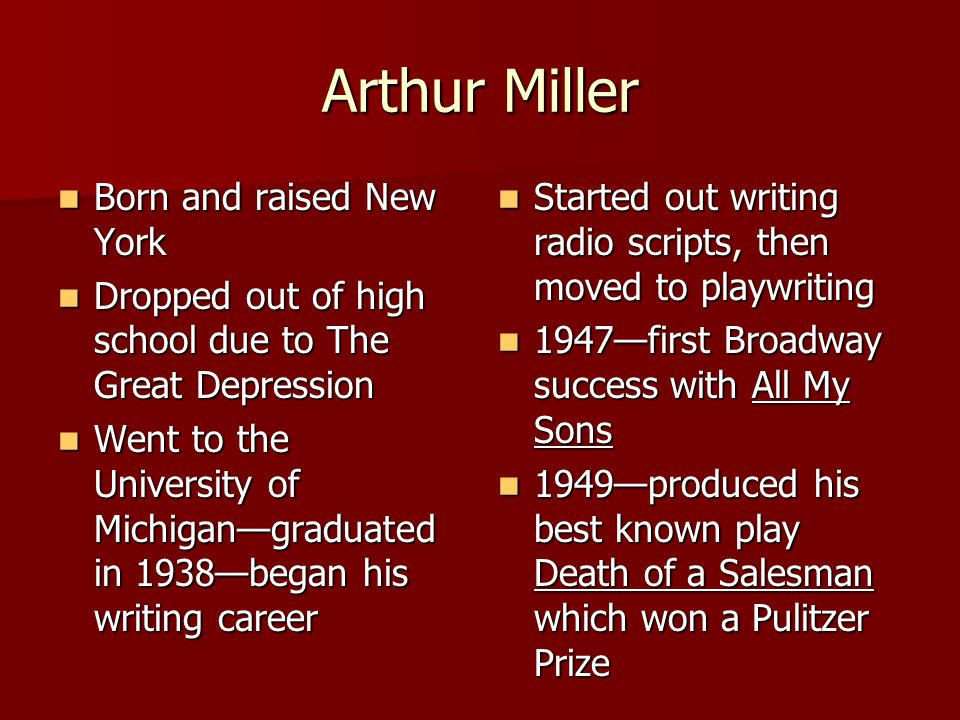 Which play won Miller the Pulitzer Prize? a. All My Sons b. Death of a Salesman c. The Crucible :10