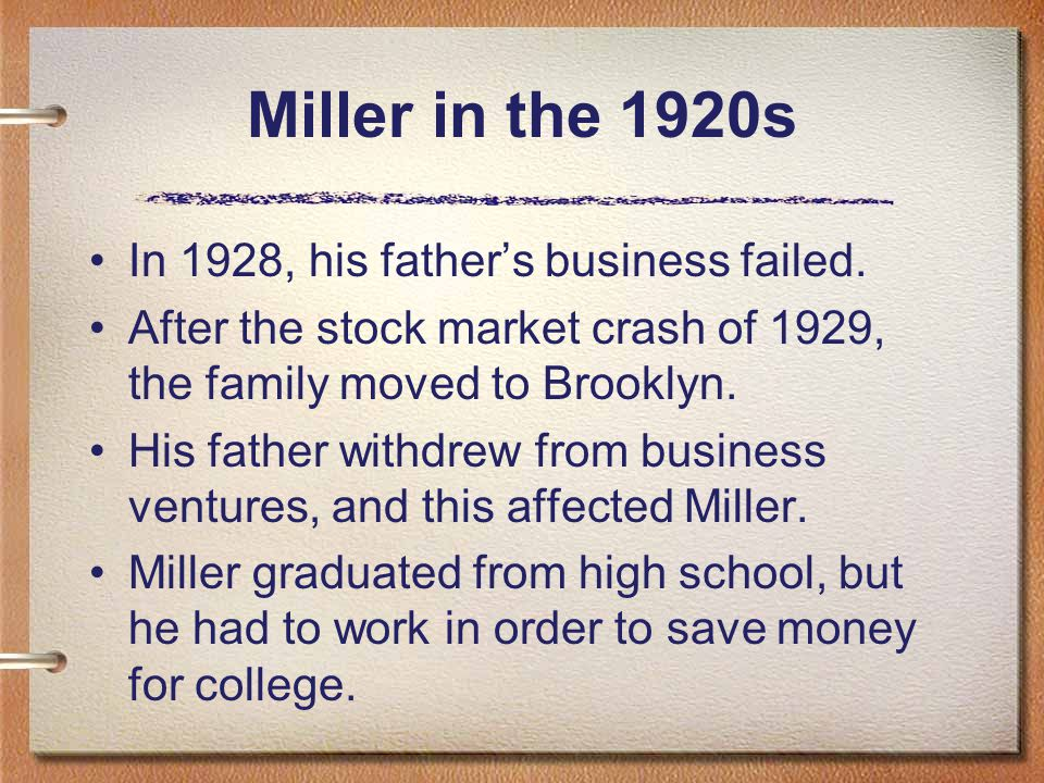 In 1928, his father's business failed.