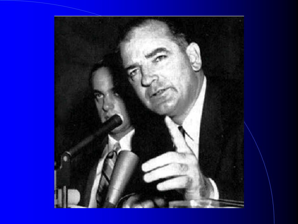 McCarthyism Senator Joseph McCarthy was the head of the House Un-American Activities commission If people criticised the government it was seen as un-American Artists, writers, film directors and actors were accused and some found it impossible to work in America again The trials were driven by paranoia Victims included Charlie Chaplin, Robert Oppenheimer, Leonard Bernstein…