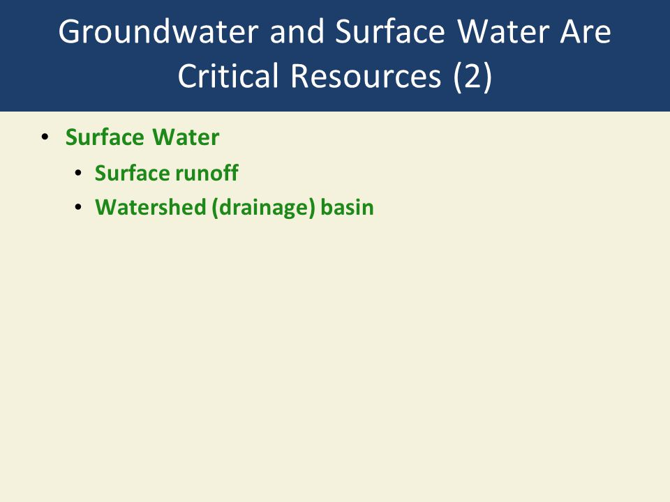 Groundwater and Surface Water Are Critical Resources (2) Surface Water Surface runoff Watershed (drainage) basin