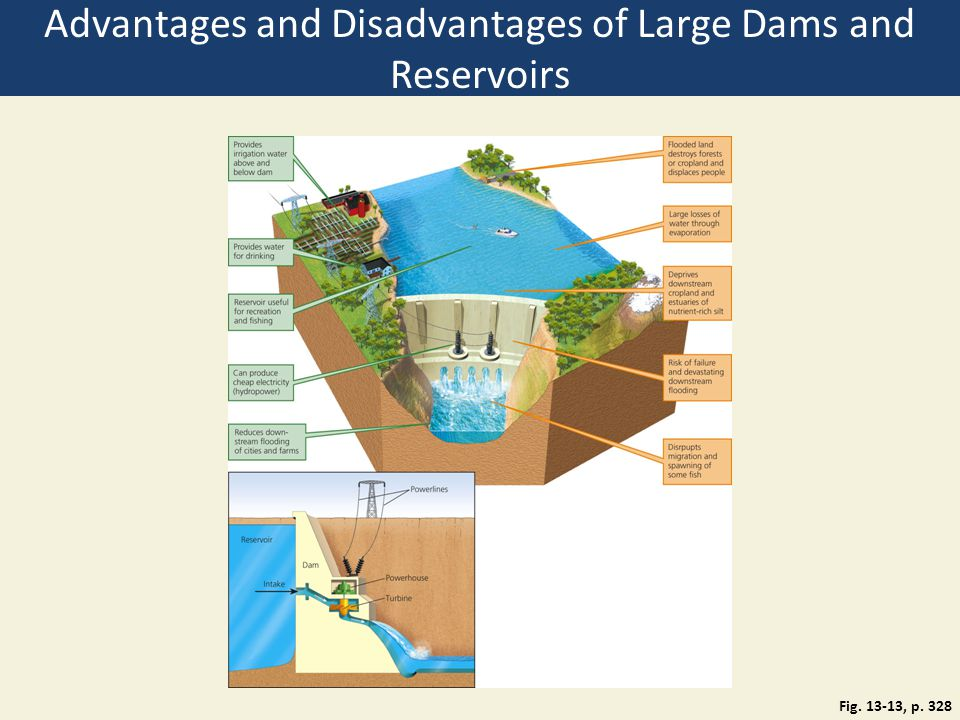 Advantages and Disadvantages of Large Dams and Reservoirs Fig. 13-13, p. 328