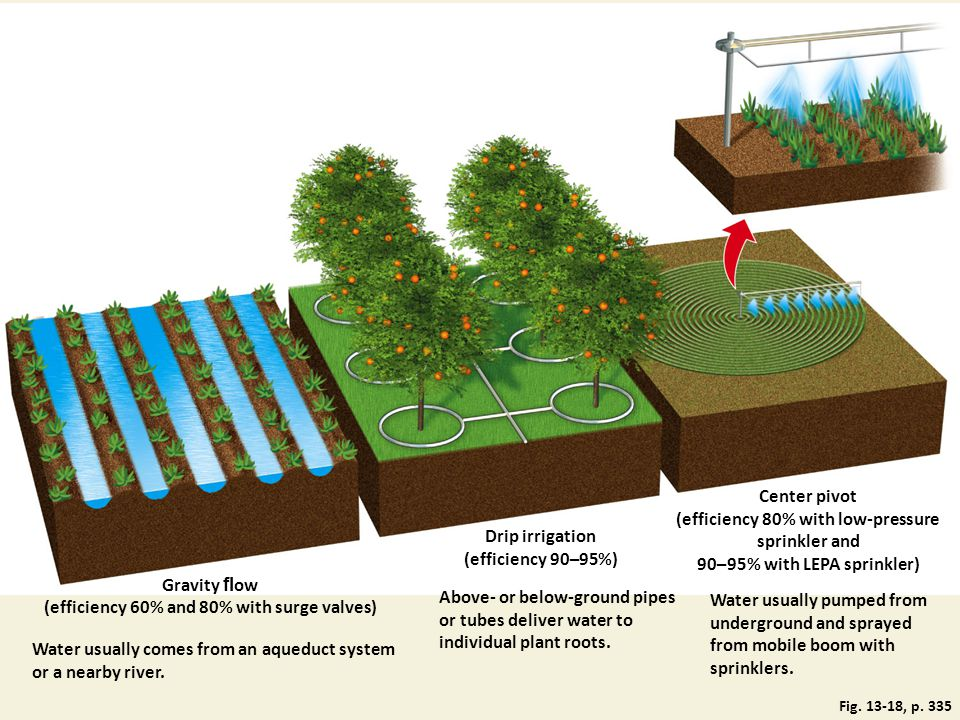 Center pivot (efficiency 80% with low-pressure sprinkler and 90–95% with LEPA sprinkler) Drip irrigation (efficiency 90–95%) Water usually pumped from