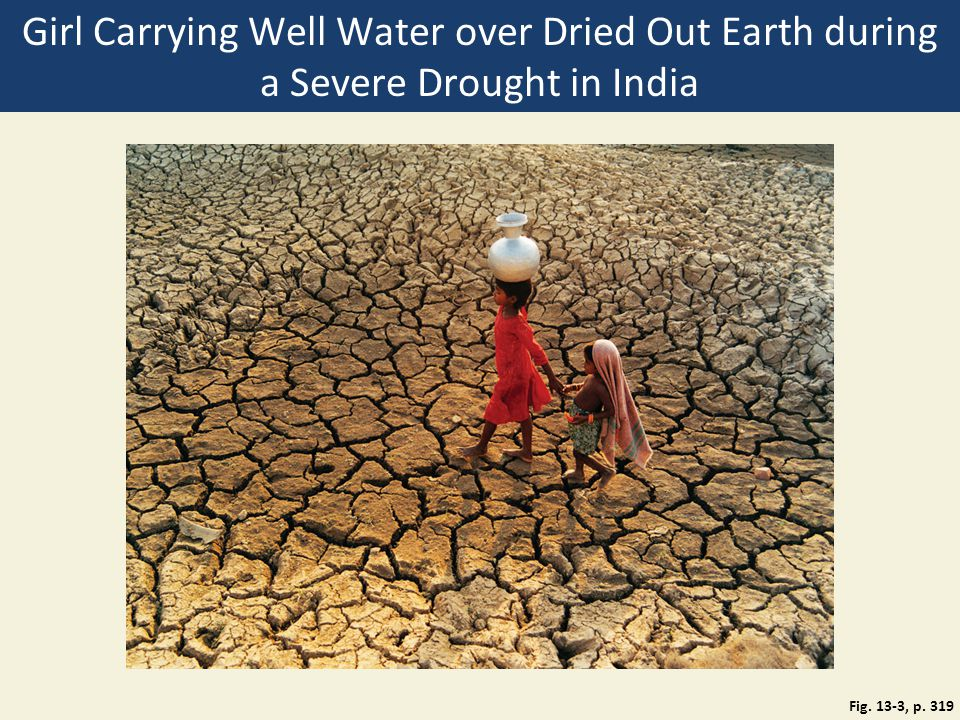 Girl Carrying Well Water over Dried Out Earth during a Severe Drought in India Fig. 13-3, p. 319