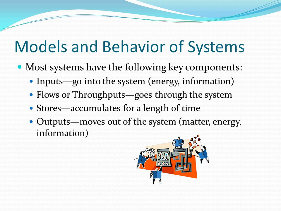Models and Behavior of Systems Most systems have the following key components: Inputs—go into the system (energy, information) Flows or Throughputs—goes through the system Stores—accumulates for a length of time Outputs—moves out of the system (matter, energy, information)