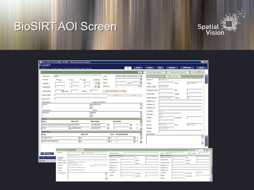 BioSIRT AOI Screen
