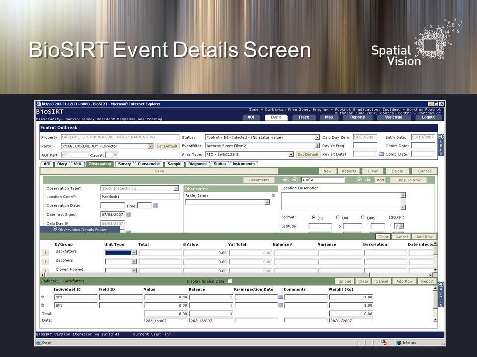 BioSIRT Event Details Screen