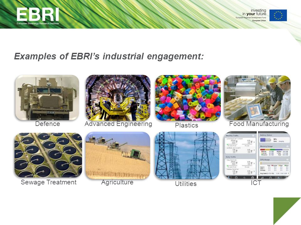 Examples of EBRI's industrial engagement: DefenceAdvanced Engineering Sewage Treatment Plastics Food Manufacturing Agriculture Utilities ICT