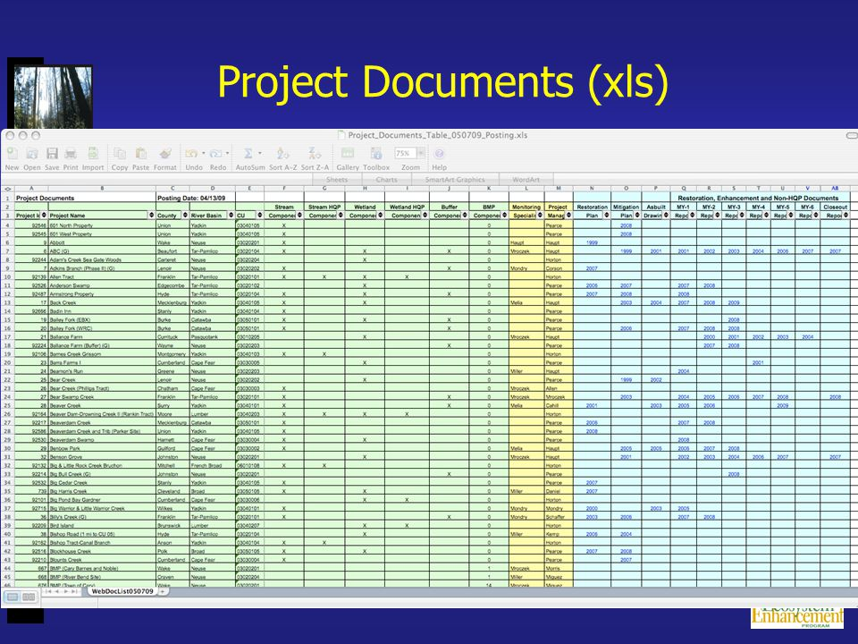 Project Documents (xls)