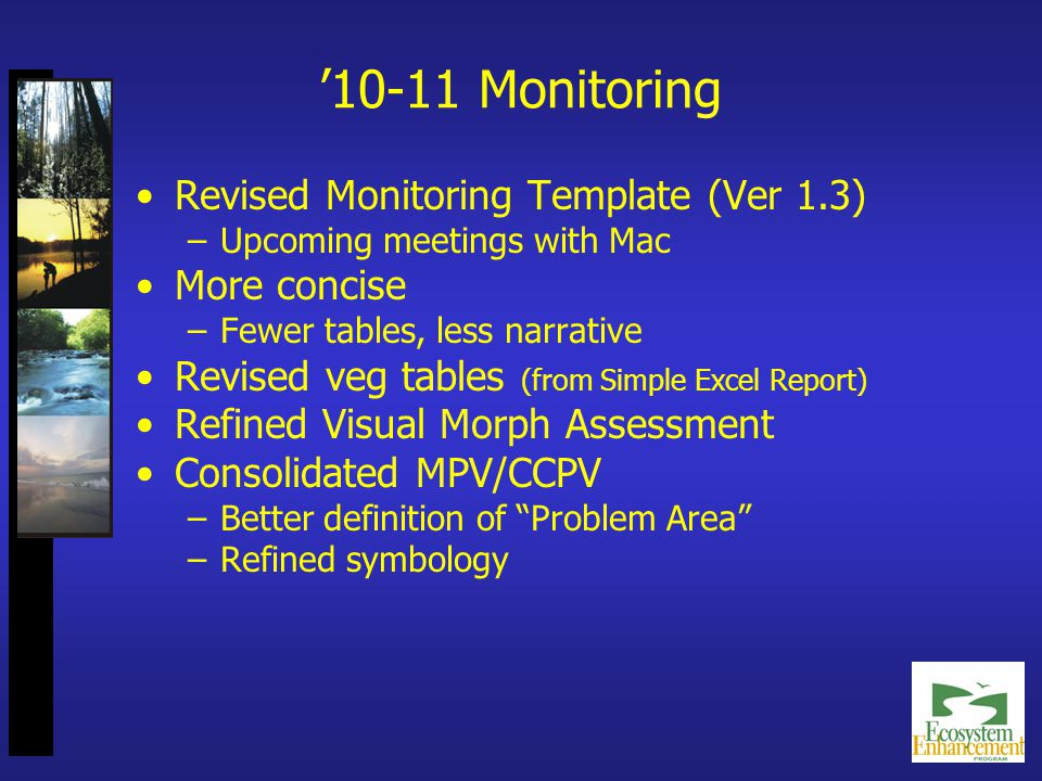 '10-11 Monitoring Revised Monitoring Template (Ver 1.3) –Upcoming meetings with Mac More concise –Fewer tables, less narrative Revised veg tables (from Simple Excel Report) Refined Visual Morph Assessment Consolidated MPV/CCPV –Better definition of Problem Area –Refined symbology