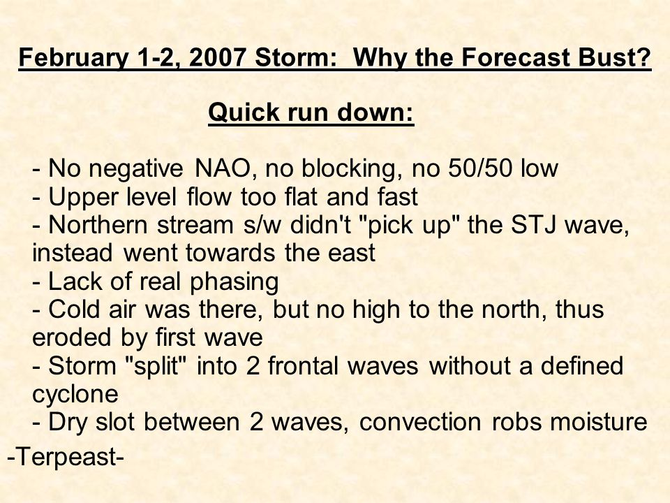 February 1-2, 2007 Storm: Why the Forecast Bust? Quick run down: - No negative NAO, no blocking, no 50/50 low - Upper level flow too flat and fast - N