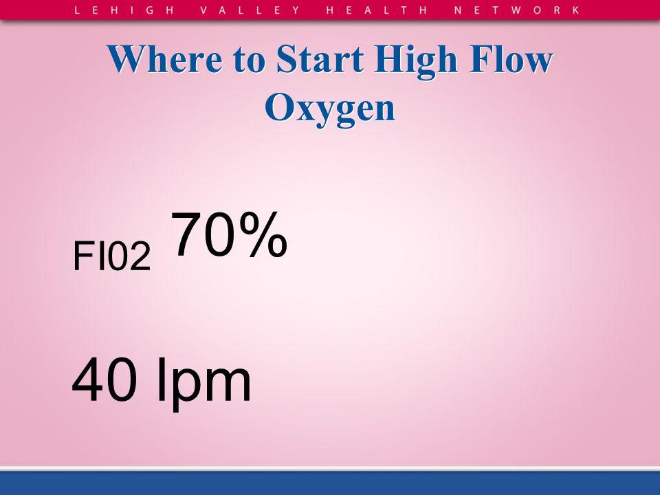Where to Start High Flow Oxygen FI02 70% 40 lpm