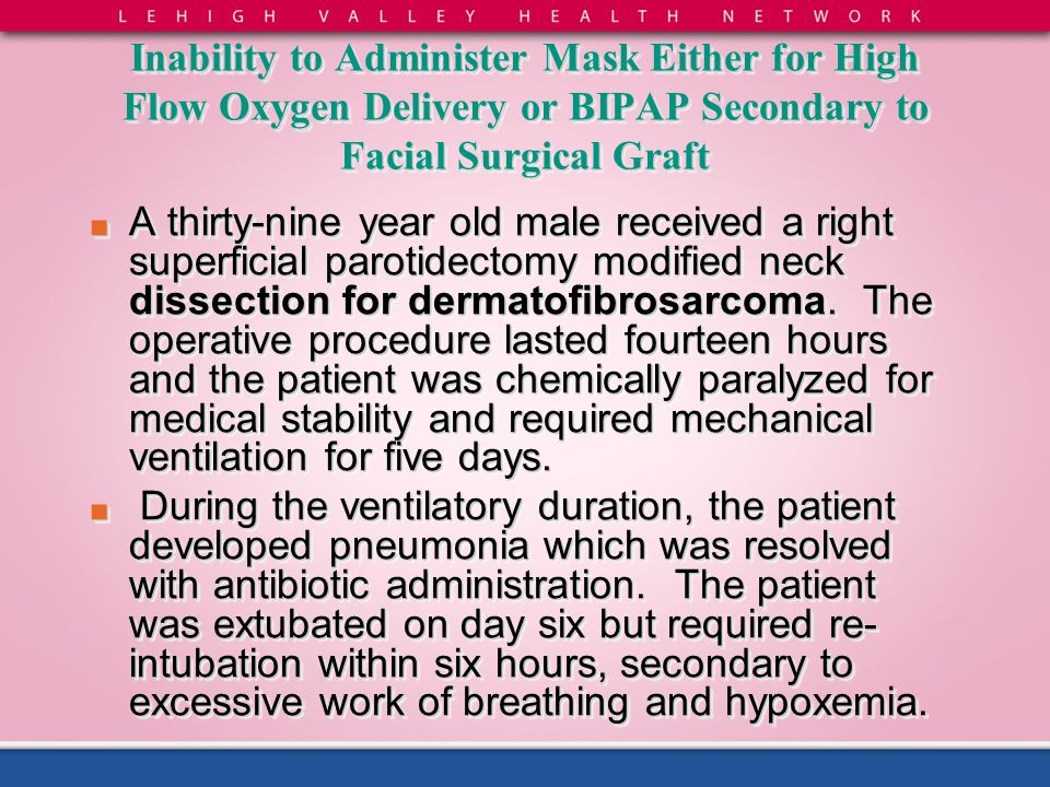 Inability to Administer Mask Either for High Flow Oxygen Delivery or BIPAP Secondary to Facial Surgical Graft ■ A thirty-nine year old male received a