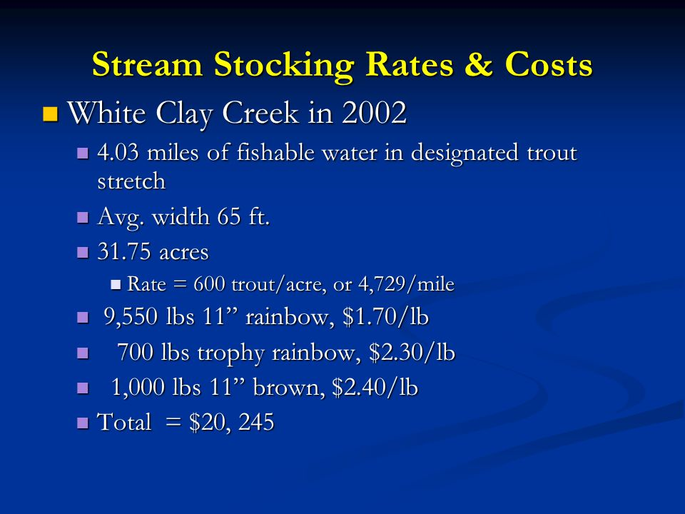 Stream Stocking Rates & Costs White Clay Creek in 2002 White Clay Creek in 2002 4.03 miles of fishable water in designated trout stretch 4.03 miles of fishable water in designated trout stretch Avg.