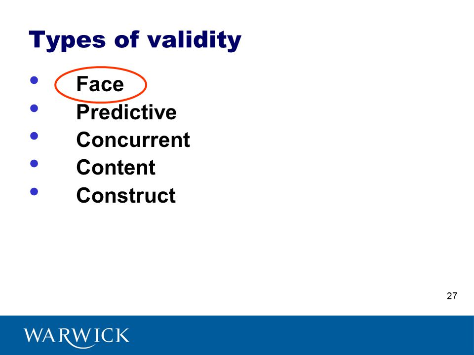 Types of validity Face Predictive Concurrent Content Construct 27