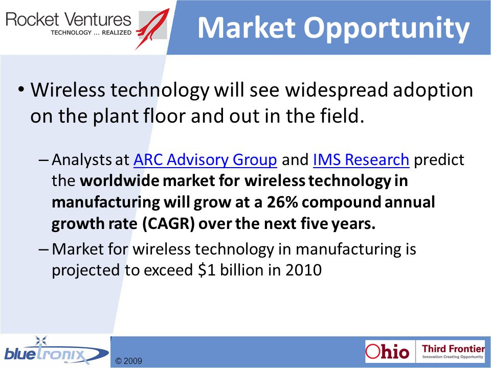 Market Opportunity Wireless technology will see widespread adoption on the plant floor and out in the field.