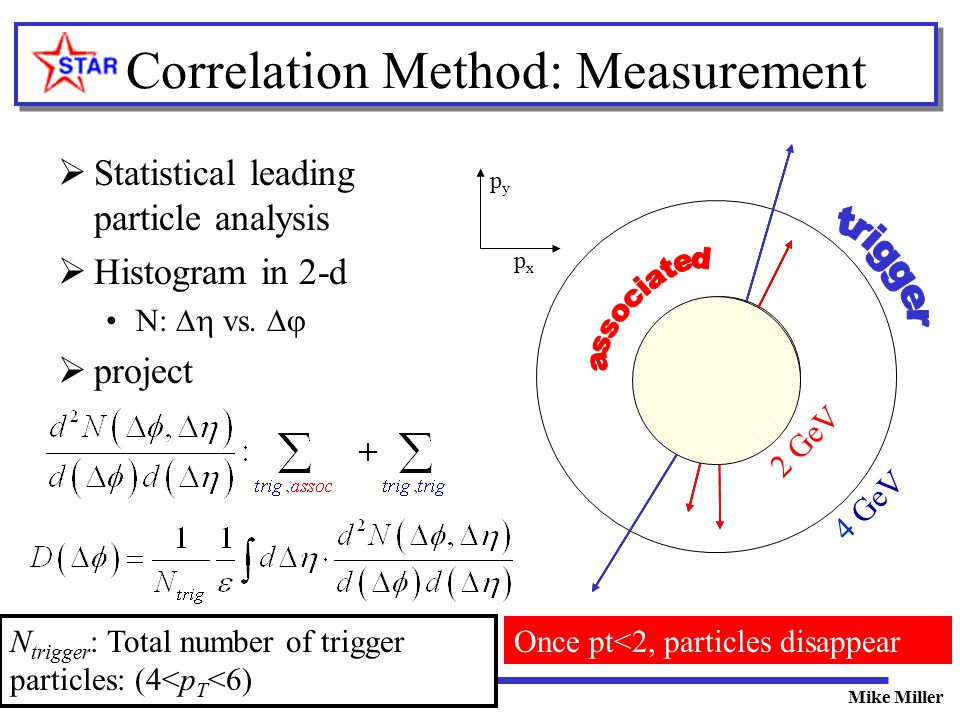 Transverse Dynamics 03/03Mike Miller Correlation Method: Measurement  Statistical leading particle analysis  Histogram in 2-d N:  vs.   project